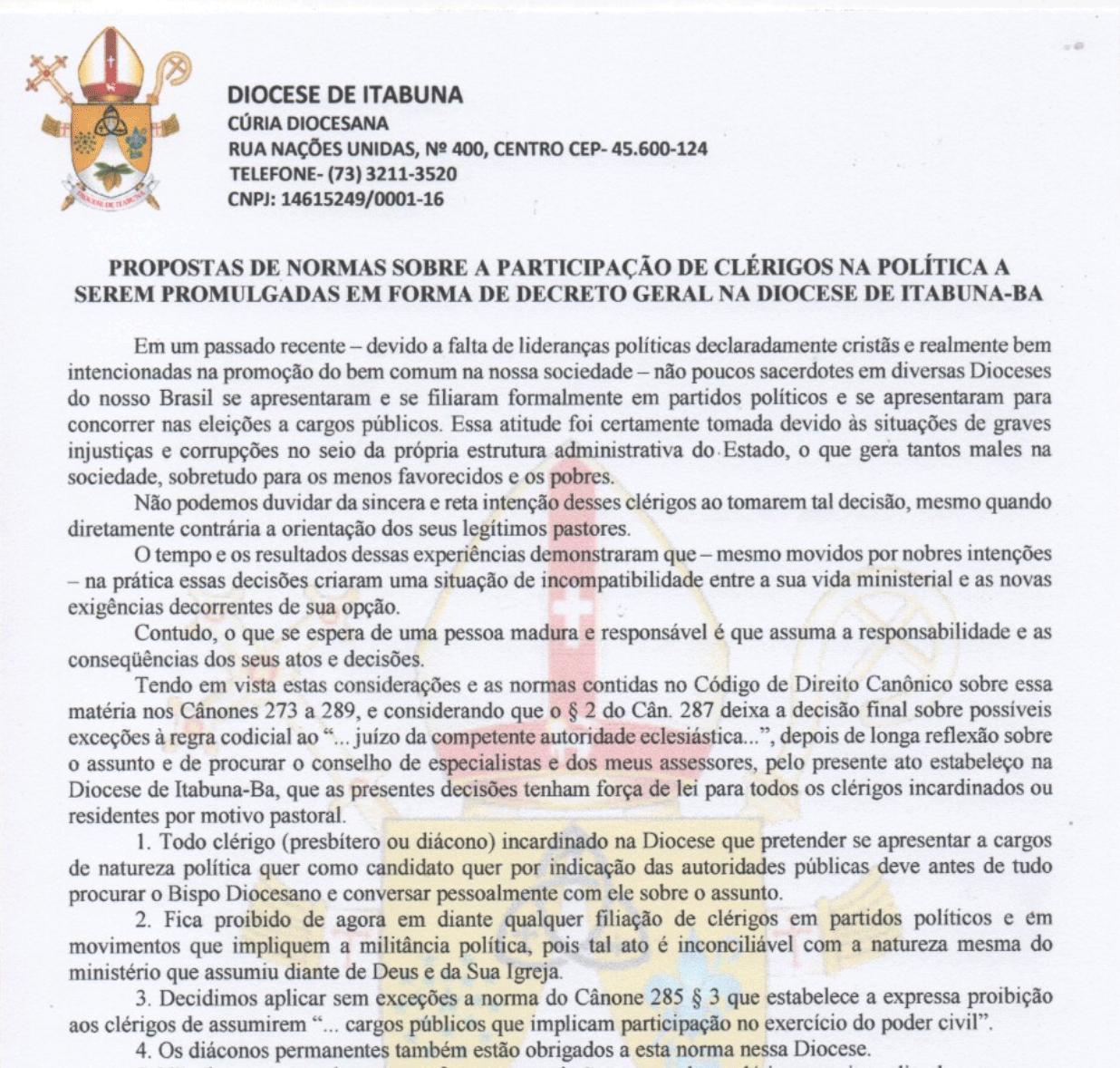 Decreto geral na Diocese de Itabuna sobre a participação de clérigos na política