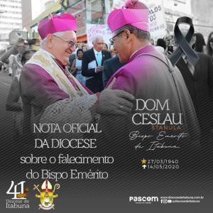 Nota oficial da Diocese sobre o falecimento do Bispo Emérito Dom Ceslau