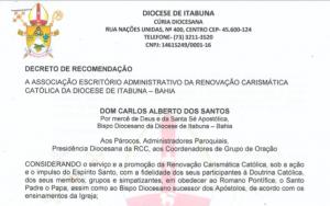 Decreto sobre adiamento da eleição da RCC 2020